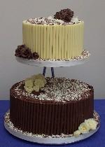 White and Milk Choc Curl Wedding Cake  Ref CW006