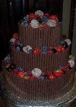 Chocolate Curl Wedding Cake with Fruit and Truffles  Ref CW007