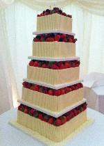 Chocolate Curl and fresh fruit wedding cake CW047