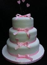 Pink Ribbon Wedding Cake   ref BC002